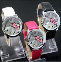 Wholesale Wholesale Fashion Belts China - 2015 Newest China Made Leather Strap Quartz Watch With Diamond Luxury KITTY Cat Design Fashion Wristwatches For Girls