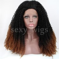 Wholesale Kinky Wig Pictures - Factory Price Curly Black To Brown Color Heat Resistant Wig Synthetic Lace Front Wig #Color & Style# As the Picture Show Free Shipping