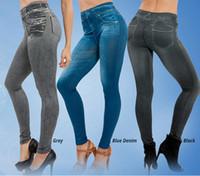 ingrosso guarda i jeans-Abbigliamento fitness per donna Jeans Jeggings per donna Senza cuciture Slim Jeggings Leggings stampati Real Pocket Jeans Look