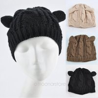 Wholesale Devil Horn Cat Ears Hat - Wholesale-2015 Devil horns Cat Ear Crochet Braided Knit Ski Beanie Wool Hat Cap Free Shipping Hot Selling New Design Style ZS*MHM719#S12