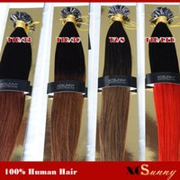 Wholesale Brown Nails Tips - XCSUNNY 18 20 Inch Hair Extensions Nail Tip Ombre Malaysian Virgin Human Hair 100g=100s Ombre Hair Extensions Black Dark Brown