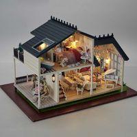 Wholesale Miniature Wood Light House - Wholesale-A032 3D Wooden large Doll House Miniatura Furniture Wood dolls lights Dollhouse Miniature House Toy Gifts Houses toys