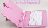 "Wholesale Pink Keyboard Kids - Micro USB 10"" Tablet PC PU Leather Keyboard Stand Case For 10 Inch Kids Tablet PC Keyboard Cover Case Gift For Christmas Day A16"