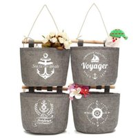 Wholesale anchor pattern - Navy Style Storage Bag Voyager Seafarer Boals Ship Anchor Pattern Finishing Bags Square Hanging Pouch Factory Direct Sale 4 5zy B