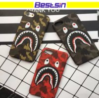 Wholesale Green Red Apple Cartoon - Fashion Shark Case For Iphone 6 7 Shark Cartoon case TPU Phone Case Cover For Iphone 8 X