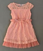 Wholesale Korean Chiffon Summer Dresses - 2 Color Girls Lace Bow Korean Ruffel Dresses 2016 new princess Girls fashion sleeveless dress baby clothes B001