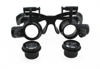 Wholesale Led Field Lighting - 5-25 4 kinds of multiple dual head-mounted magnifying goggles, glasses type magnifier with LED lights work, field trips to enlarge glasses