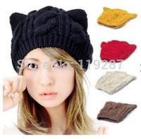 boina de orelha de gato venda por atacado-New Coreano Moda Bonito Orelhas de Gato Chapéus para as mulheres marca de tricô quente venda quente adorável Gorros Inverno Boinas de malha Cap