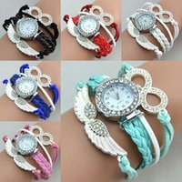 Wholesale Diamond Heart Watches - Infinity Watch Fashion Bracelet Watches Diamonds Mask Wrist Watches Women Quartz Watches Round Case Drop Free Shipping