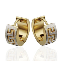 Wholesale Stainless Earring Screw - Greek Style Stainless Steel Men's Hoop Earring Studs Gold Plated Fashion Jewelry Gifts