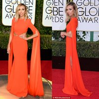 73. Golden Globe Awards Abendkleider mit Cut Away Seiten Lange Poet Sleeves Split Chiffon Rote Teppiche Celebrity Kleider 2016 Imitation