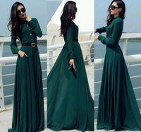 vestido vintage longo al por mayor-2019 Vestido verde oscuro Longo mujeres vestidos de época casual elegante de señora Long Botón del partido maxi camisa de vestir de Kaftan Abaya Túnicas