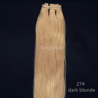 couleur remy indien 27 achat en gros de-Trame de cheveux humains brésiliens Vierges brésiliens de Remy Trame de cheveux indien péruvien Bundles Extensions 100g 1pcs 14