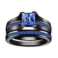 Wedding Rings blue diamond wedding ring set - Princess cut mm blue Sapphire simulated Diamond KT Black Gold Filled GF in Engagement Wedding Ring Set for christmas gift Sz
