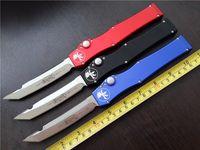 Wholesale Custom Aluminum Boxes - MICROTECH Custom HALO V T E 4.6'' Full size satin Plain knife Tanto Edge single action Tactical knives with original box 150-4
