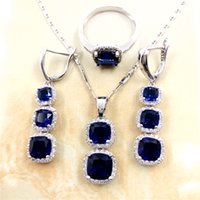 Wholesale Silver Ring Blue Gem - Wedding Jewelry Sets Classic Blue Gem Crystal 925 Sterling Silver Earring & Pendant Necklace &Ring For Woman 3Pcs Set