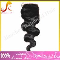 Wholesale Cheap Hair Ties - #1 jet black 4x4 closures top 6a closure in stock cheap 100% peruvian virgin hair body wave lace closure bleached knots