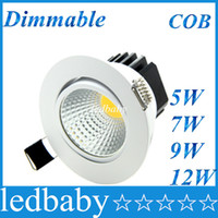 Wholesale bright dimmable ceiling lights resale online - CREE cob W W W W Dimmable Led Ceiling Light Round White Shell Led Downlights Ultra Bright Led Cabinet Lamps AC V