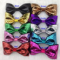 Wholesale Hair Accessoires Girls - 3.5inch sequin PU hair bow WITH alligator CLIP for baby girl pu leaterh hair bows for hair accessoires 20pcs lot free shipping