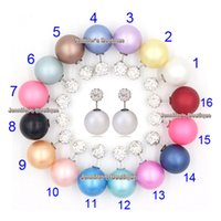 Wholesale Wholesale Earring Stud Backings - Mix 16 Colors Free Shipping Shamballa Earrings Double Sided Stud Earring 8mm Crystal Shamballa Ball Front 16mm Pearl Back Earrings for Women