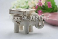 Wholesale Antique Ivory Elephant - 200PCS New Lucky Elephant Antique-Ivory Candle Holder with card for Wedding favors Best gifts for guests Free shipping 0914#14