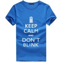 Wholesale Stylish Tshirts - Wholesale-Men Doctor Who Logo Design T Shirts Keep Calm And Don't Blink Letter Tshirts Original Stylish Man T-shirts Street Clothing