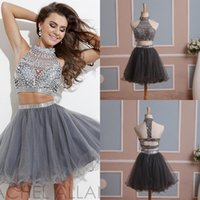 Wholesale Short Tulle Bead Homecoming Dress - 2015 In Stock Two Pieces Short Homecoming Dresses with High Neck Beads Rhinestones Tulle Graduation Dresses Mini Prom Gowns Real Pictures