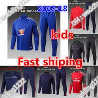 Wholesale Green Track Suits - BEST 2017 18 KIDS RONALDO Tracksuit Soccer SETS Jacket pogba ALEXIS dbybala Sports Training Suit 2017 2018 HAZARD KIDS Track Suit