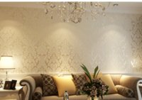 Wood Fiber Wallpaper special effects materials - European Vintage Luxury Non Woven Damask Wallpapers embossing flocking D Textured environmental Wallpaper for Home Decoration wall decor