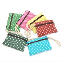 Wholesale Cosmetics Material - New Creative coin purse Double zipper canvas material wave point Female women cosmetic bag free shipping