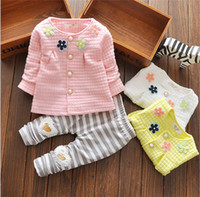 Girl pale pink cardigan - 2016 new children baby girl coat pant suit fashion colour Flower Cardigan baby set