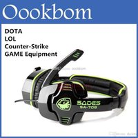Wholesale Pcs Cs - E-Sport WCG WPC Sades SA-708 Recommended Professional Gaming Headphones Computer Headset For PC Game Dota 2 LOL CS With Retail Package