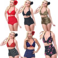 Wholesale red dot bikini - Women Plus size Swimsuit Baithing suit with Retro High-Waist Dot Skull Leopard Floral Swimwear Plus Size Bikini Set 2 Pieces Swimsuit SW220