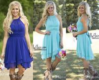 Wholesale Turquoise Chiffon Dress Knee Length - 2016 Hot Sale Country Style Turquoise Bridesmaid Dresses Crew Neck Ruffled Chiffon Mini Dress Beach Wedding Party Dresses