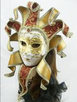 Wholesale Venice Masquerade Carnival - Brazil Carnival mask in the Venice carnival music style Hand draw three-dimensional grain masquerade mask free shipping FD0501