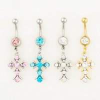 Wholesale Nice Girls Boys - 0550-1 body jewelry Nice style Navel Belly ring 10 pcs mix colors stone drop shipping factory price