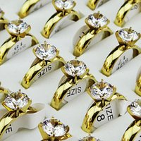 Wholesale plain white gold ring - Genuine 10PCS Never fade Cubic Zirconia 18k Gold 316L Stainless Steel Engagement Wedding Women Men's Plain Rings Jewelry A075