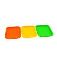 Wholesale square silicone tray - Non Stick Container Silicone Rolling Tray Heat resistant Square Tobacco Handroller Cigarette Smoking Accessories