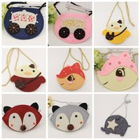 Wholesale Korean Cute Baby Boy - Toddler Girls Babies kids Cartoon 2015 Korean Style Creative fox shoulder Messenger bag cute coin purse free shipping in stock
