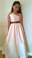 Wholesale Satin One Shoulder Wedding Dress - One Shoulder Satin Flower Girls Dresses Floor-length A-line Girls Wedding Dresses Custom Made