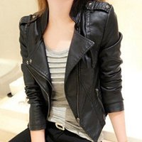 Оптово-женская мода Faux Leather Jacket Turn-Down Collar Short Coat Slim Fit Top
