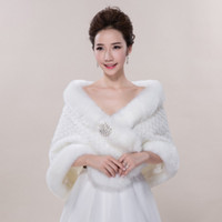 Wholesale Bridesmaids Shawls Wraps - New Bridal Wraps Faux Fur Shawl Jacket For Wedding Prom Ivory Winter Warm Rhinestone Bridesmaid Bolero Hot Sale 2017