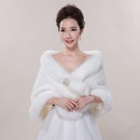Wholesale Ivory Faux Fur Wedding Shawl - New Bridal Wraps Faux Fur Shawl Jacket For Wedding Prom Ivory Winter Warm Rhinestone Bridesmaid Bolero Hot Sale 2017