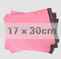 Wholesale Plastic Courier Bag Envelopes - Wholesale-100pcs lot 17cm*30cm Pink Poly Mailing bags Plastic Envelope Express bags Courier Bags Wholesle Free Shipping