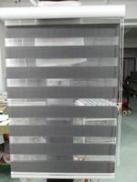 cortinas translúcidas venda por atacado-2015 New Custom Made Translúcido Roller Zebra Blinds em Cinza Escuro Cortinas para Sala de estar 30 Cores Estão Disponíveis