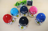 Wholesale Hiphop Hat Korean - 2016 Fashion Lovely Brand Children Hiphop Hat Snapback Kids Sports Caps COCO Letters Pattern Korean Style