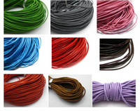 Wholesale 2mm Round Leather - 32.8 Feet Round Real Leather Jewelry Cord 2mm