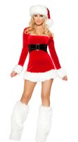 Wholesale Sexy Christmas Lady Outfits - Womens Ladies Sexy Santa Christmas Fancy Dress Costume Miss Santa Party Outfit lingerie 88818 one size S-L