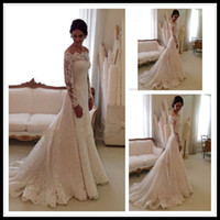 Wholesale China Gowns Online - Fashion Long Sleeve Wedding Dress Sexy Lace Wedding Dresses Mermaid Off Shoulder White China Wedding Gowns Bridal Dress Brautkleider Online