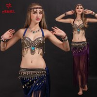 Wholesale Black Belly Dance Bra - 2016 New Design Tribal style Sexy Belly Dance Costume 2pcs Bra+Belt Free shipping